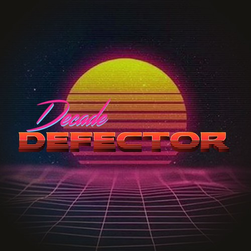 Synthwave design with the title 'Decade Defector'