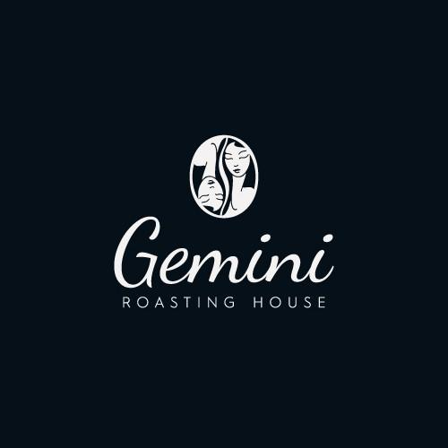 Zodiac logo with the title 'Gemini - Roasting house'