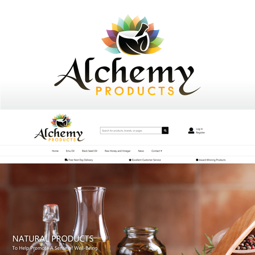 Wellness logo with the title 'Eye catching logo for natural health & well-being products'
