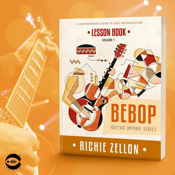 """Jazz design with the title 'Book cover for """"Bebop – Lesson Book"""" by Richie Zellon'"""