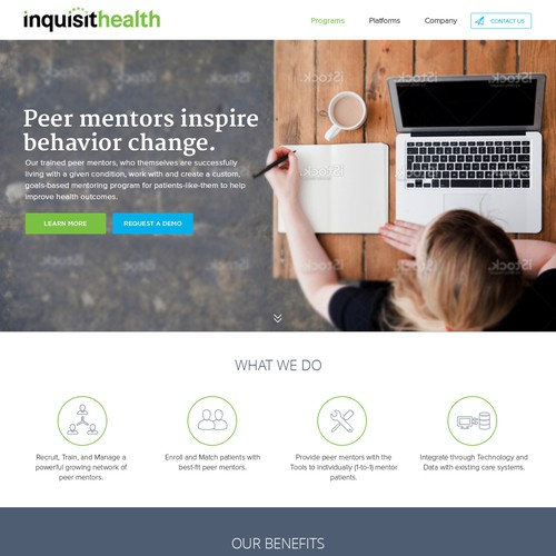Health website with the title 'Redesign corporate website of a healthcare tech startup'