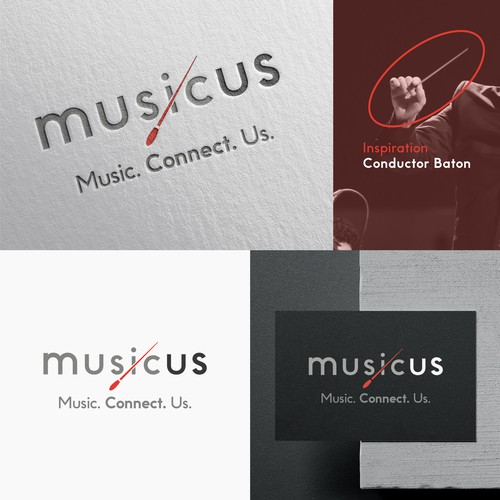 "Black and gray logo with the title '""musicus"" logotype'"