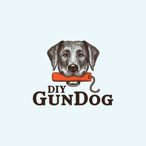 Chihuahua logo with the title 'Cute Labrador Retriever holding a bumber for DIY GunDog'
