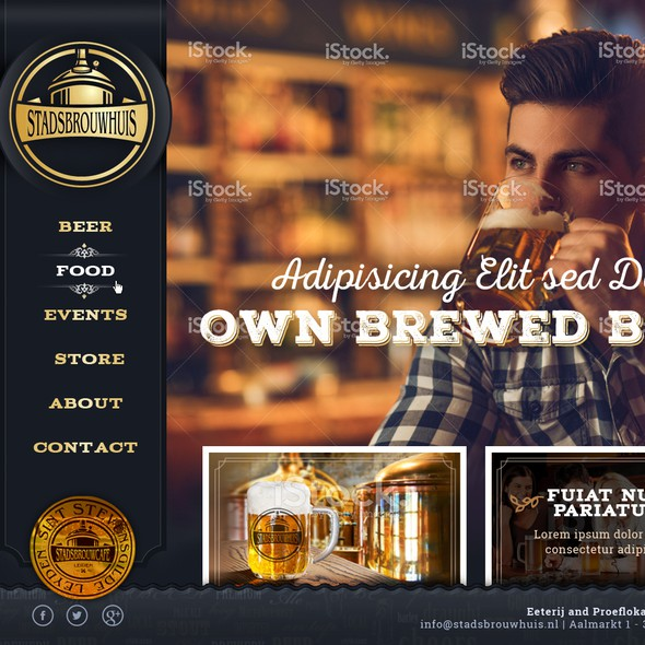 Innovative website with the title 'Website for a brewcafe'
