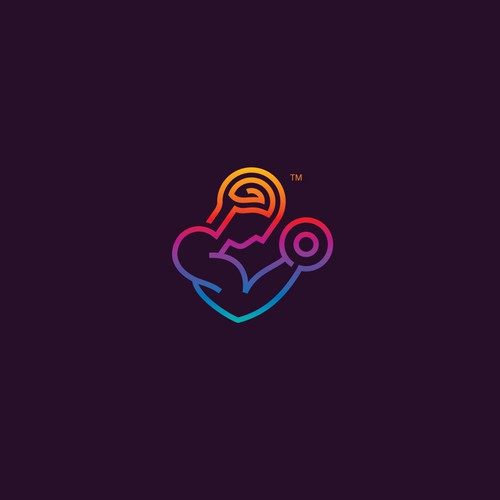 Bulb brain logo with the title 'Amazing colorful line art logo for MindMuscle.co'