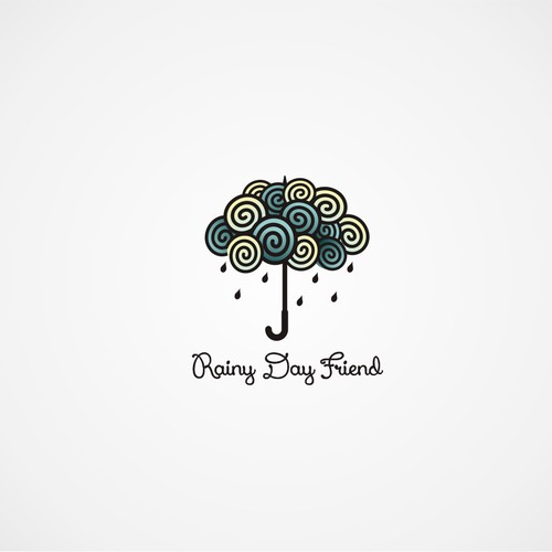 Rain logo with the title 'logo for Rainy Day Friend'