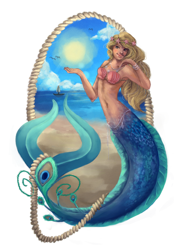 Mermaid illustration with the title 'Design and illustrate a mermaid banner for a jewellery website'
