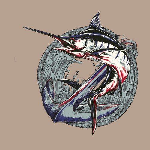 Marlin design with the title 'marlin fish'