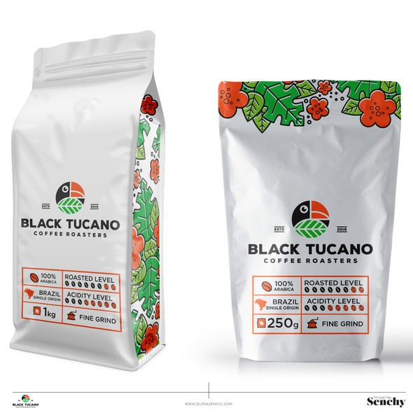 Coffee packaging with the title 'Coffee packaging'