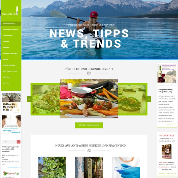 Health website with the title 'Concept design for AntiAgingNews.net'