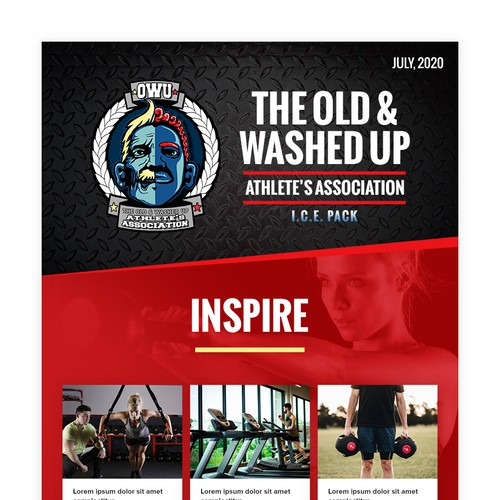 Motivational design with the title 'The Old & Washed Up Newsletter'