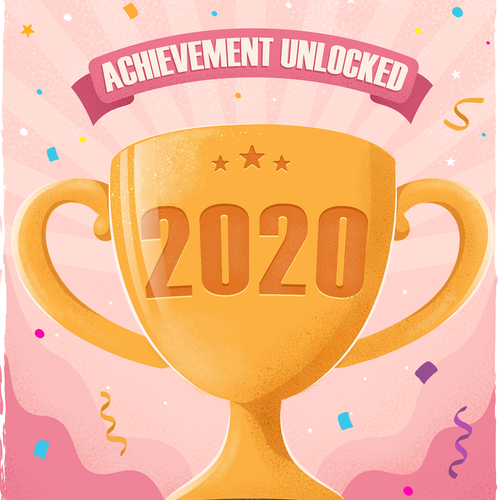 Texture illustration with the title '2020 Motivational Poster'