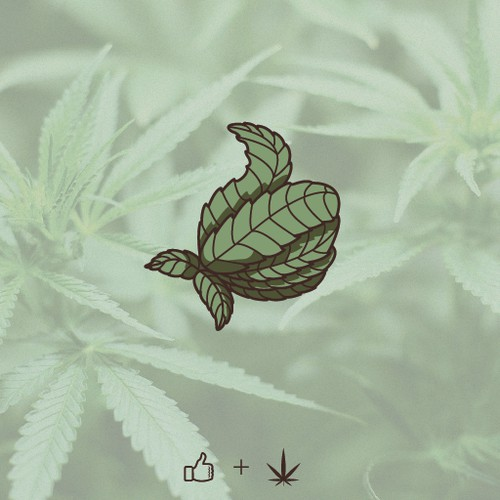 Thumbs up logo with the title 'Hemp Leaf Thumbs Up'