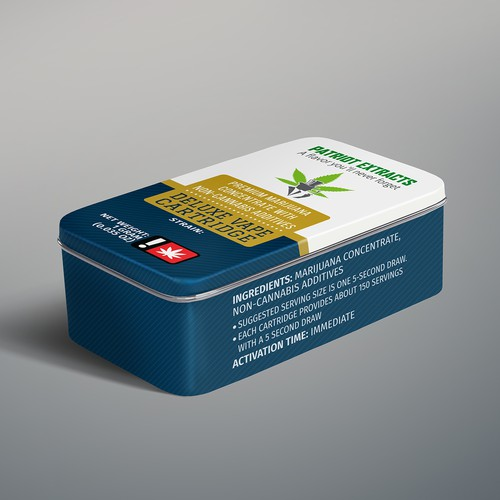Tin packaging with the title 'Cannabis Vape Package Design'