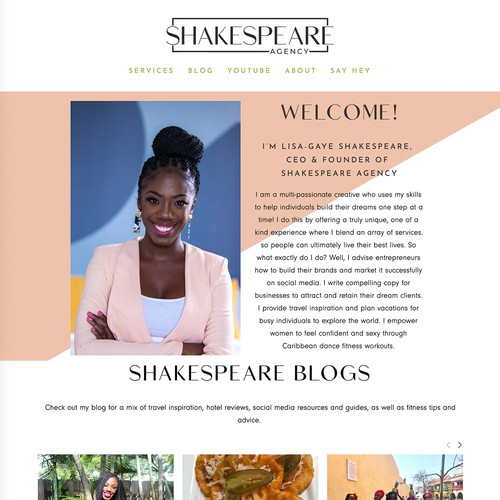 Travel agency website with the title 'Shakespeare Agency Design'