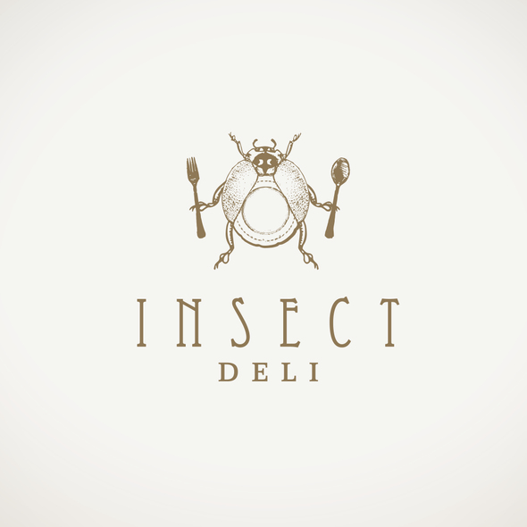 Delicatessen design with the title 'Logo for edible insects e-commerce Insect Deli'