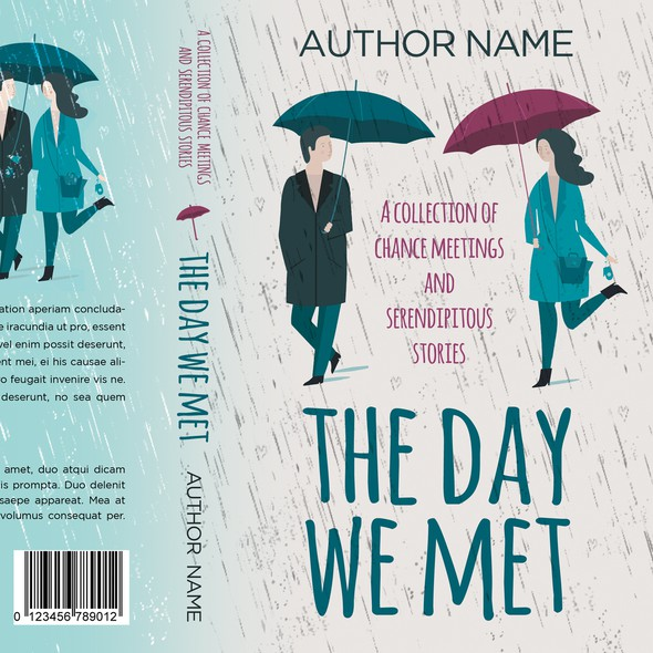 Romantic comedy book cover with the title 'The day we met - Collection of stories about love at first sight'