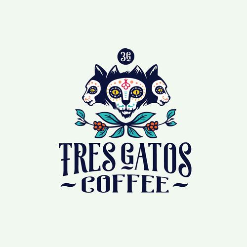 Dia de los Muertos design with the title 'Logo concept for coffee shop'