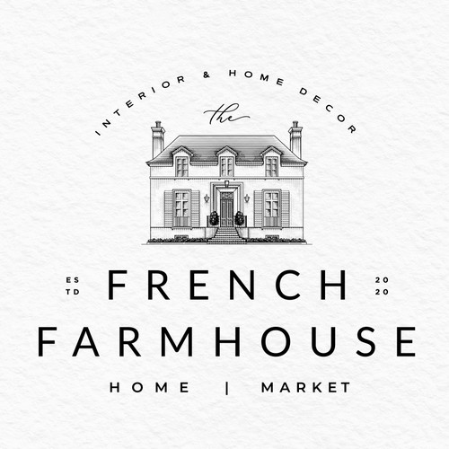 Rustic brand with the title 'THE FRENCH FARMHOUSE LOGO'