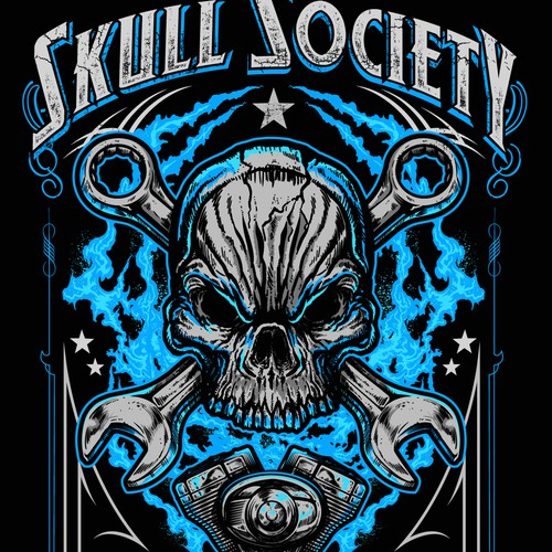 Bikers Skull and Engine Flame Motorcycle Maglietta