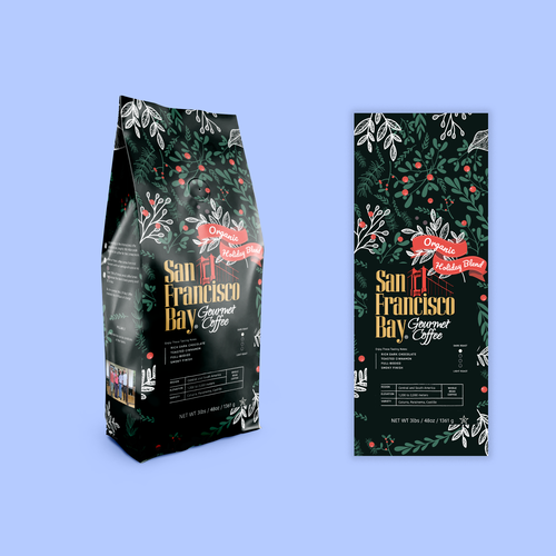 Christmas packaging with the title 'Coffee packaging'