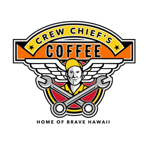 Car care logo with the title 'Crew Chief's Coffee'