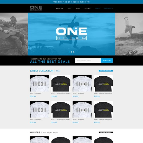 """Black website with the title 'Website Design For """"One Dream"""" T-shirts'"""