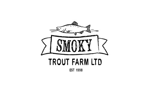 Trout design with the title 'Vintage Style Farm Logo'