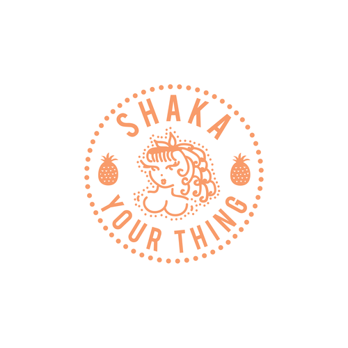 Pineapple design with the title 'SHAKA YOUR THING - Design for a tote bag'