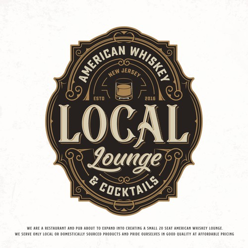 Whiskey bottle logo with the title 'Local Lounge'