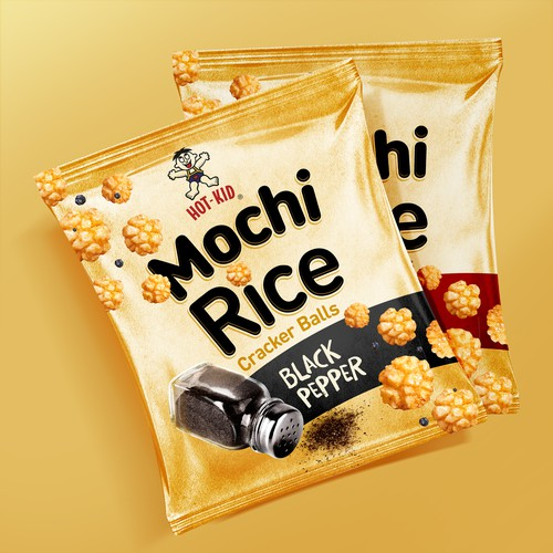 Chips packaging with the title 'Mochi Rice Cracker Design Contest'