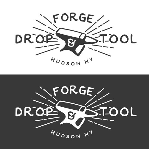 Forge logo with the title 'Create an eye catching logo for an arts organization with an industrial name: Drop Forge & Tool!'