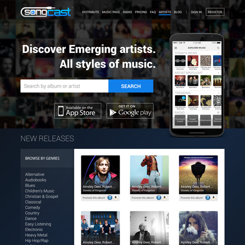 Conversion design with the title 'Landing page design for a music app'