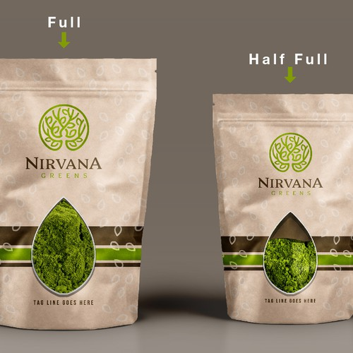 Transparent design with the title 'Nirvana green herbs label design'