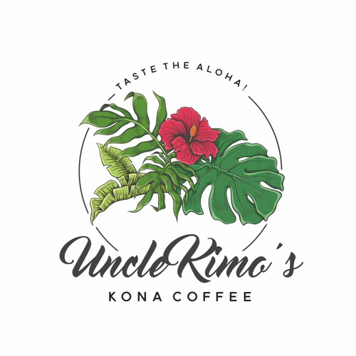 Pink and green design with the title 'Uncle Kimo's Kona Coffee'