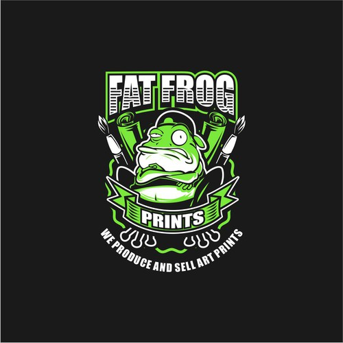 Frog logo with the title 'FAT FROG LOGO'