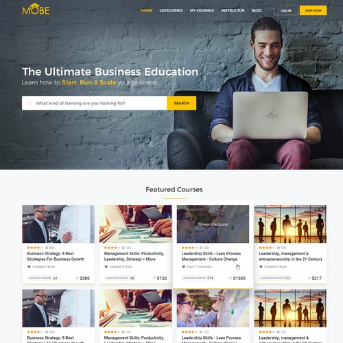 Sleek website with the title 'Website for online trainings'