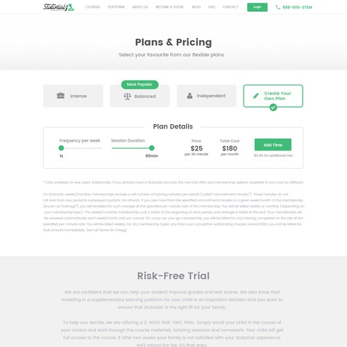 Pricing design with the title 'Pricing Plans Page'
