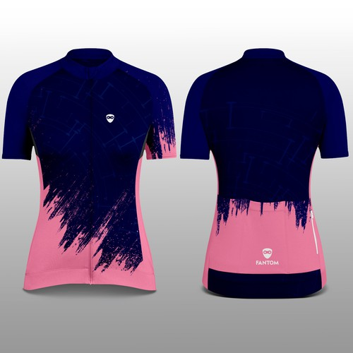 Cycling design with the title 'Fantom Woman Cycling Jersey'