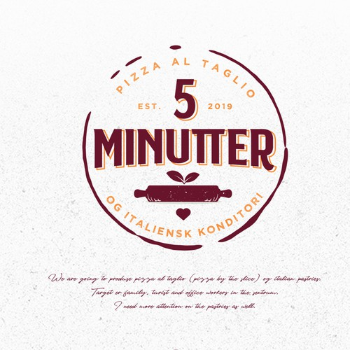 Pizza brand with the title '5 MINUTTER pizza al taglio'