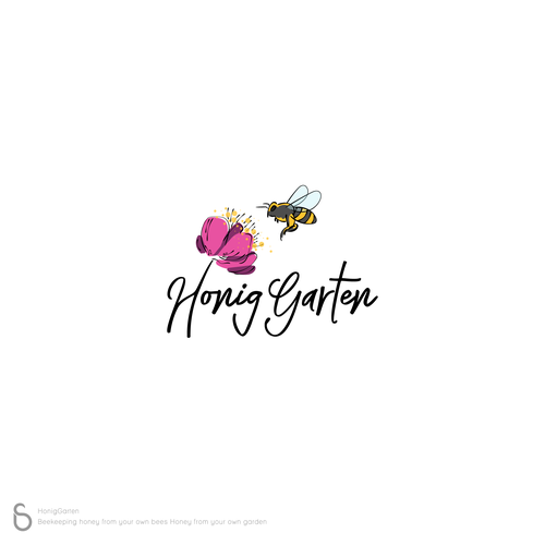 Honeybee design with the title 'Logo Design for Der HonigGarten'