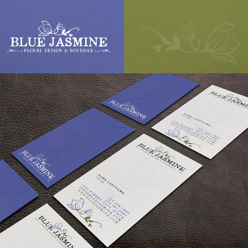 Flower shop design with the title 'LOGO & BUSINESS CARD DESIGN FOR BLUE JASMINE LLC FLORAL DESIGN AND BOUTIQUE'