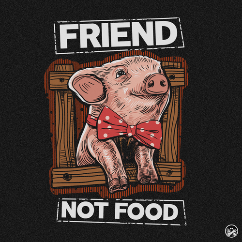 Vegetarian design with the title 'FRIEND NOT FOOD'