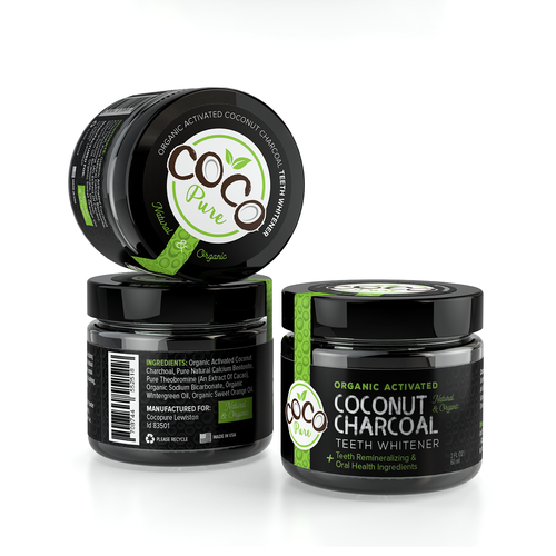 Jar label with the title 'Organic Activated Charcoal '