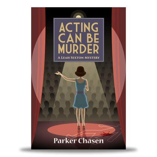 Cartoon book cover with the title 'E-Book Cover : Acting Can Be Murder by Parker Chasen'