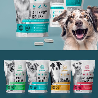 Packaging design for a pet supplement set