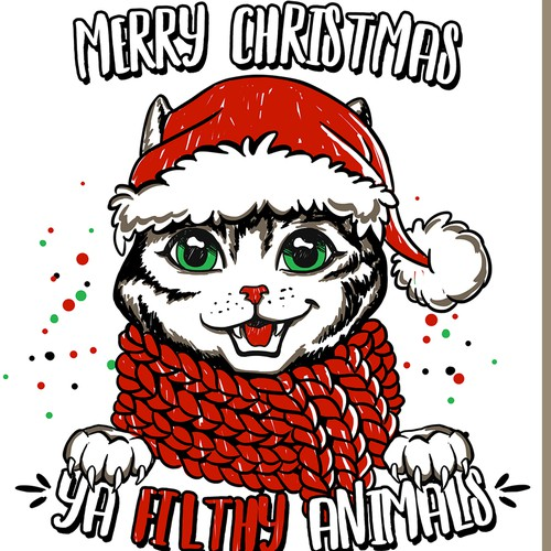 Kitty design with the title 'Merry Christmas Cat Theme Illustration'