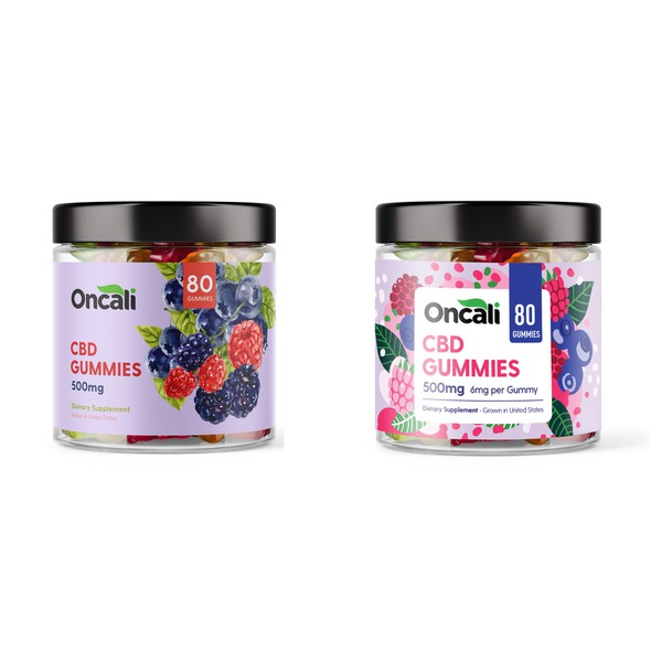 California label with the title 'CBD Gummies Redesign'