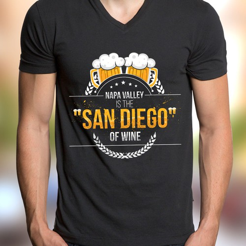 2-dimensional design with the title 'San Diego Beer T-shirt design needs to put Napa Valley in its place...'