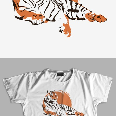Lying Tiger T-shirt Design